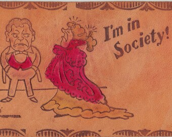High Society Lady, Vintage 1907 Leather Postcard