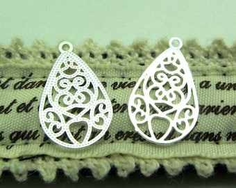 Set of 4 small prints charms drops clear - silver filigree Teardrops 19 * 11 mm