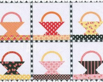 Annie's Farm Stand Black Floral Basket Quilt Panel SKU 10102-Black