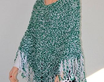 Crochet Poncho/ Boho Poncho/ Shawl and Wrap/ Green and White Poncho/ Fringed Poncho/ Leisure Fringe Poncho/ Lounger/ Gift idea