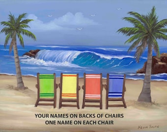 Personalized Print ,Name On Chairs,Family Vacation,Beach Decor,Florida,Wall Decor,Art,Original