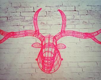 Handmade Recycled Metal Deer Head Wall Hanging Decor
