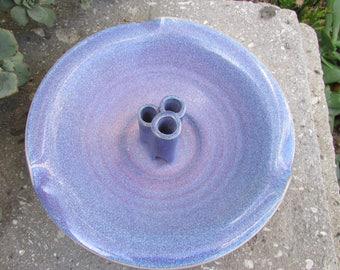 Ikebana Pottery Vase with 3 tubes for Flowers Bluish Purple Glaze signed