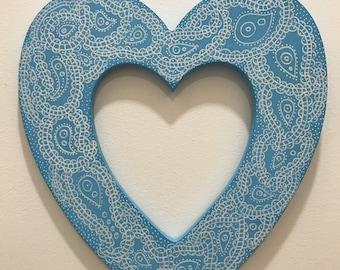Handpainted Wooden Hanging Heart