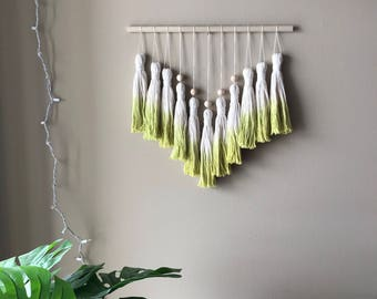 tassel wall hanging, tassel decor, dip dye tassels, dip dye wall hanging, tassel banner, tassel bunting, woven wall hanging, woven decor