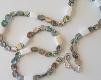Abalone shell and mother of pearl necklace