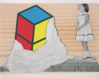 Perspective Art, Primary Colour Art, Little Girl Collage, Nursery Art, Modern Art, Odd Collage, Surreal Wall Art, Mini Art, Shelf Art,