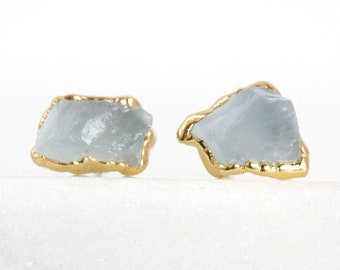 raw aquamarine studs | aquamarine earrings | aquamarine jewelry | aquamarine gold | march birthstone studs | raw crystal earrings