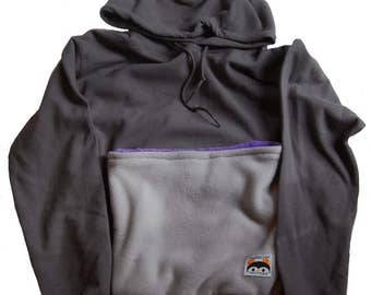 Rat Pack Hoodie for Small Animal Wearing in Gray with Purple Pocket Lining