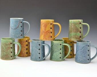 Big Coffee Mug Paisley Pattern, tea cup, tea mug, Buttons MADE TO ORDER