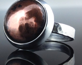 Dome Ring, Copper Ring, Sterling Silver Ring, Women's Ring, Handmade Ring, Hammer Forged Ring