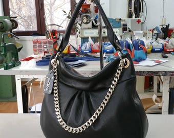BLACK Leather Bag with CHAIN, Leather Shoulder Bag, Soft Pebbled Leather Purse, BLACK Leather Bag, Black Leather Bucket, Modern Leather Bag