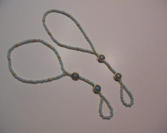 Barefoot Sandal Mint and Gold Seed Beads with Golden/Mint Metal Accents