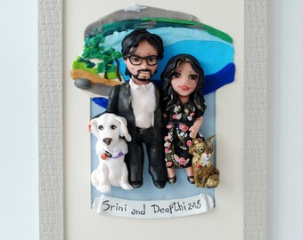 Unique Gift for Husband Custom Family Portrait whith Pets Personalized Sculpture