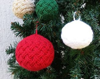 Traditional Christmas Ornaments, Celtic Weave Bauble Ornament, Crocheted Ornament, Handmade Ornament, Custom Made Ornament, Textured Ornamen