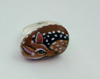 Miniature deer adjustable silver ring fawn painted pet rocks OOAK 3D gift under 40 whitetail fawn wildlife art Mystic Farm rescue donate