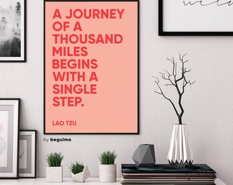 Journey Print, Lao Tzu Quote, Inspirational Words, Printable Wall Art, Travel Print, Large Poster, Chinese Proverb Print, Digital Download
