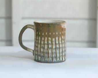 Gum nut green carved mug