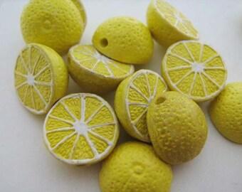 10 Tiny Lemon Beads - CB387