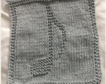 PATTERN - dishcloth / washcloth knitting pattern - Musical note