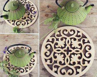 Wood Trivet   Large wood coaster   Housewarming Gift   Kitchen accessory