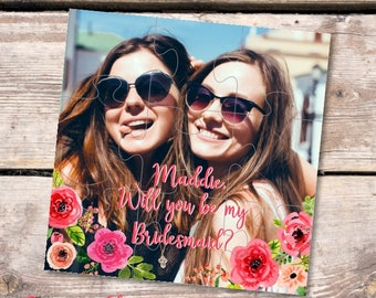Bridesmaid photo gift Personalized puzzle Will you be my bridesmaid gift proposal Maid of Honor gift puzzle Ask Flower girl gift jigsaw card