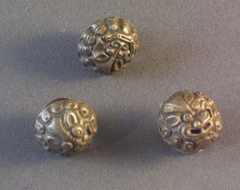 Antique Chinese Silver Buttons Fierce Face, Qing Dynasty