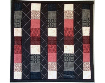 Abstract Art Quilt Wall Hanging Geometric Patchwork Columns 18 Inch Square