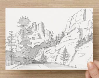 Ink Sketch of Mount Rushmore National Monument in Black Hills South Dakota - Drawing, Art, Mountain, 5x7, 8x10, Print, Pen and Ink