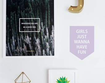 Girls Just Wanna Have Fun Banner, Violet Wall Decal Kids Banner Custom Color Wall Decal  Fun Decor. Girl Wanna Have Fun Banner Wall Decal