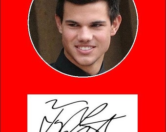 "TAYLOR LAUTNER COLLECTIBLE!  5""X7"" matted image with Facsimile autograph - Ready To Frame!"