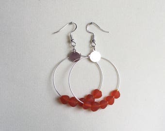 Silver earrings with heart red pearls