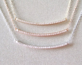 Diamond Bar Necklace - Diamond Necklace - Layering Necklace