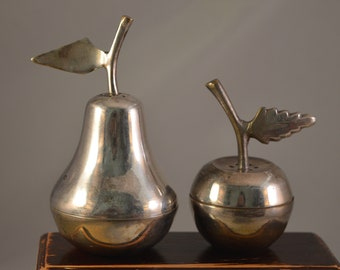 Vintage metal  salt and pepper shakers ,apple and  pear