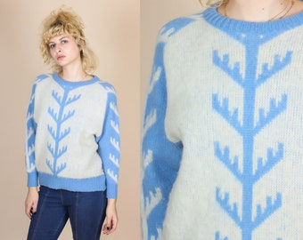 Vintage Icelandic Wool Knit Sweater - Extra Small // 80s Nordic Fair Isle Pullover Jumper