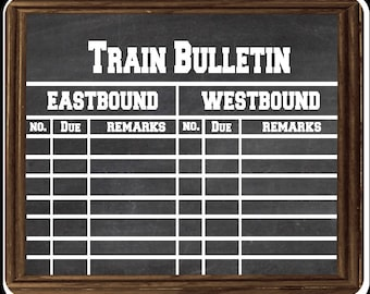 Model railroader Train Bulletin Chalkboard looking Computer mouse pad
