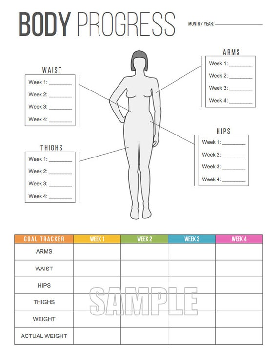 body progress tracker printable body measurements tracker