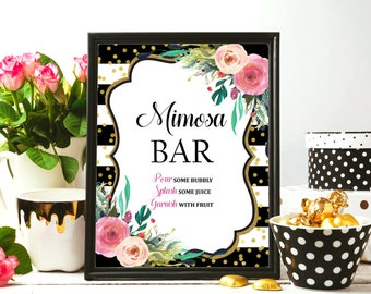 Floral Mimosa Bar Sign Printable, Black & White Gold Glitter Pink Floral, Wedding, Bridal Shower, Birthday Decorations INSTANT DOWNLOAD