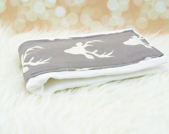 Baby Burp Cloth (Grey Deer) ||| burp rag, baby burp cloths, burping rag, baby shower gift, baby gift, new baby gift