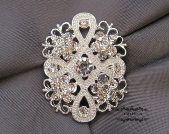1-10 Wholesale Brooch Rhinestone Brooch Bouquet Wedding Pin Invitation Cake Shoe Hair Comb DIY Button Embellishment Silver Brooches BR209