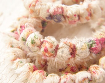 LONG Cottage Garden - boho chic Fabric Covered Bead Cord in vintage floral cotton - 6 inch cord - handcrafted by Gail (ready to ship)