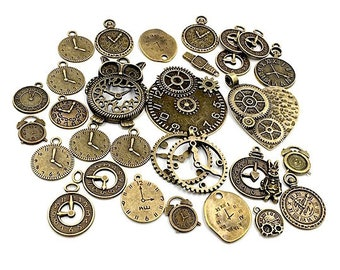 100 Gram Assortment Steampunk Clock Face Charm Pendants