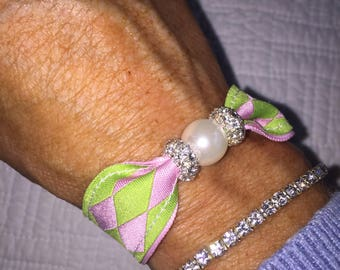 pearl preppy Ribbon bracelet argyle pink and green bridesmaid gift
