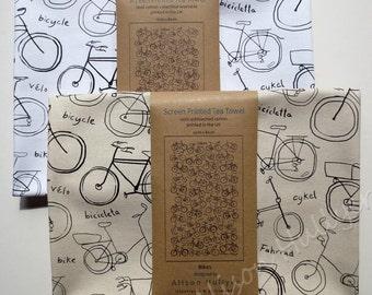 Bikes - screen-printed tea towel (cream or white)
