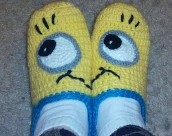 Crochet Minion Slippers - adult Slippers and beautiful package  Handmade TO ORDER for Adult Sizes for men and woman