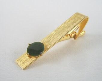 Vintage Gold Tone & Jade Tie Clip