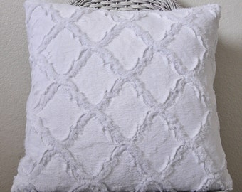 Minky Lattice Pillow Cuddle White Pillow Nursery Pillow Baby Gift Shower Gift INSERT INCLUDED