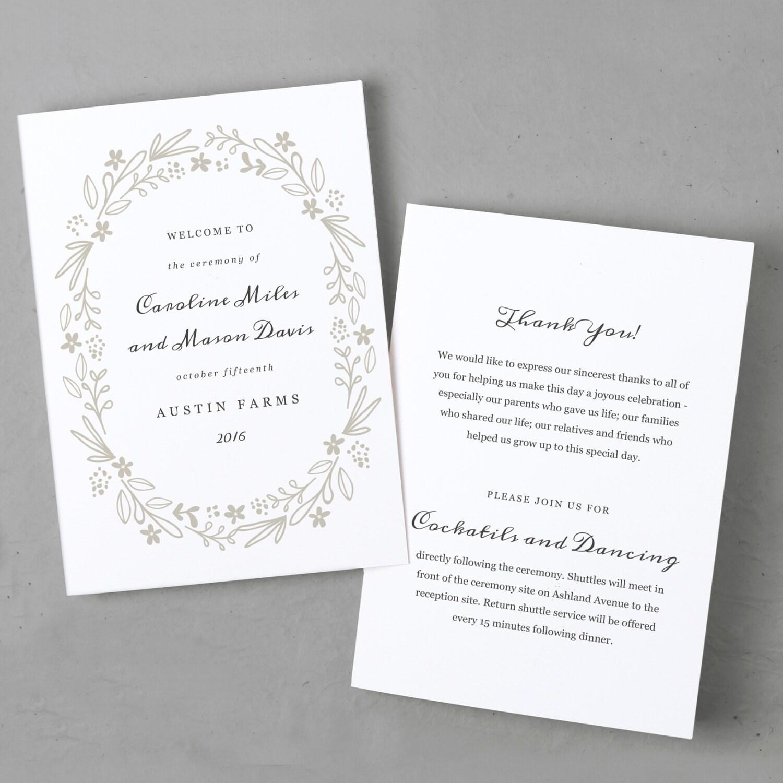 Printable Wedding Program Template Order Of Service Floral Wreath - Editable wedding program templates