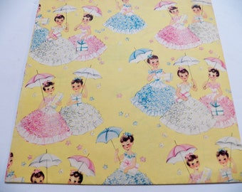 Vintage Birthday Wrapping Paper, Vintage Gift Wrap, One sheet 20X29 inches, Southern Belles with Parasols on Yellow Gift Wrap, All Occasion