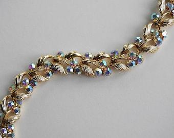 Lisner Mid Century Violet Aurora Borealis Rhinestone Necklace with Leaves